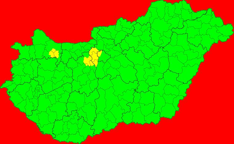 Aktuelle Unwetterkarte Magyarország